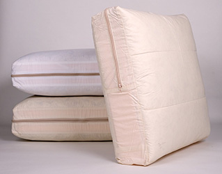 Three feather wrapped foam sofa cushions