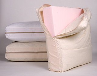 Pile of sofa cushions filled with foam