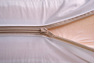 Zip fastening on sofa cushion